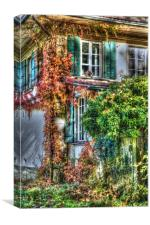 Vine covered Swiss Country Cottage, Canvas Print