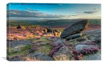Sunset at moorland, Peak District, Canvas Print