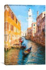 Campanile e Gondola, Canvas Print