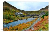 Caban Coch dam in the Elan Valley, Canvas Print