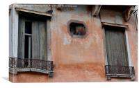 Pigeons relaxing in Bassano Del Grappa in Italy., Canvas Print