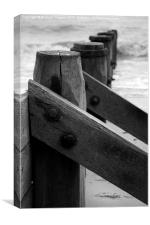 Black and White Groyne image, Canvas Print