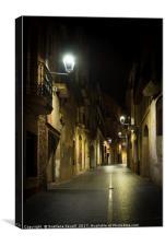 Walking at Night Street, Canvas Print