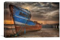 Old rusty ship being broken for scrap, Canvas Print