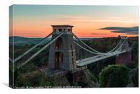 Sunset at Clifton Suspension Bridge, Canvas Print