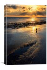 Sunset Strolls, Worthing Beach, Canvas Print