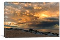 Lancing Beach with dramatic clouds, Canvas Print