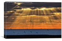 Worthing Beach Sun Rays, Canvas Print