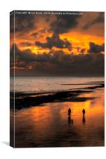 Sunset walkers on Worthing Beach, Canvas Print
