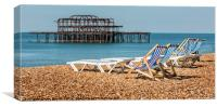 Brighton Beach West Pier Deckchairs., Canvas Print