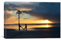 West Wittering sunset and boy, Canvas Print