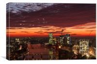 Main, Frankfurt, River, sunset, Canvas Print