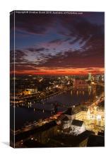Main, Frankfurt, Eiserner Steg, River, Sunset, Canvas Print