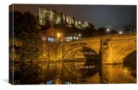 Durham Castle and Framwellgate Bridge by Night, Canvas Print