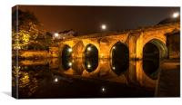 "Elvet Bridge in Durham ""light and reflection"", Canvas Print"