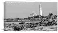 The Lighthouse in mono..............., Canvas Print