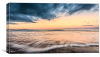 Bamburgh beach sunset slowly exposed , Canvas Print