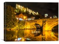 Durham Castle by Night Lights, Canvas Print
