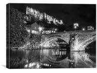 Durham Castle by Night Lights in Black and White, Canvas Print
