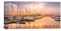 Fiery sunset over the Marina , Canvas Print