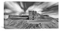Majestic Ruins of Tynemouth Castle in black and wh, Canvas Print