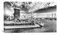Waterbus arriving at the Marina in B&W, Canvas Print