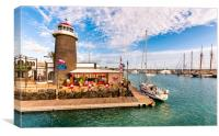 Playa Planca Lighthouse Cafe, Canvas Print