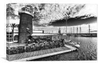 Playa Planca Lighthouse Cafe , Canvas Print