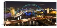 Newcastle Bridges at Night, Canvas Print