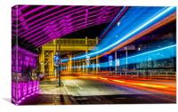 Light Trails High Level Bridge HDR, Canvas Print