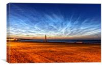 Noctilucent Clouds at White Lighthouse at Seaburn, Canvas Print