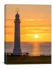 Sunrise at Seaburn Beach with White Lighthouse, Canvas Print