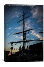 Tallship and Liverpool, Canvas Print