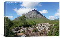 Buachaille Etive Mor and falls on the River Coupal, Canvas Print