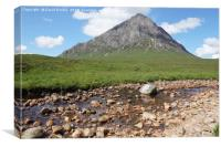 Buachaille Etive Mor  and falls on the River Coupa, Canvas Print