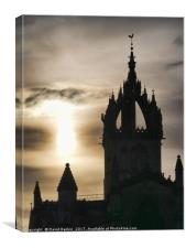 the spire of St Giles Cathedral on the Royal Mile , Canvas Print
