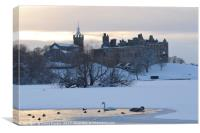 Snowy Linlithgow Palace in winter, Canvas Print