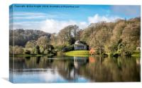 View across the lake,Stourhead, Canvas Print