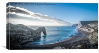A view of Durdle Door and the beach below, Canvas Print