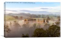 Egglestone Abbey Morning Mist, Canvas Print