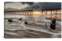 Sunrise at Steetley pier, Canvas Print