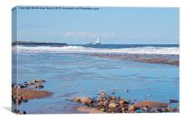 Whitley Bay - Waves on the Beach, Canvas Print