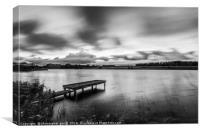 Black and white jetty at lake, Canvas Print