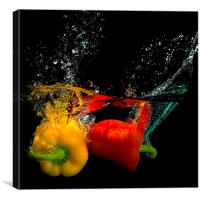 Splashing Peppers!, Canvas Print