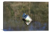 sinking boat in Velindre Reservoir, Wales, Canvas Print
