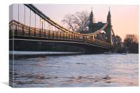 Hammersmith Bridge highest tide of year at sunset, Canvas Print