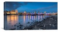 London Skyline showing BlackFriars Bridge, Canvas Print
