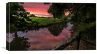 Sunset over the River Mole in Surrey , Canvas Print