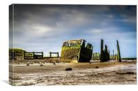 Shipwreck and dock, Canvas Print