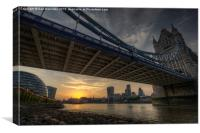 London skyline from under Tower Bridge at sunset, Canvas Print
